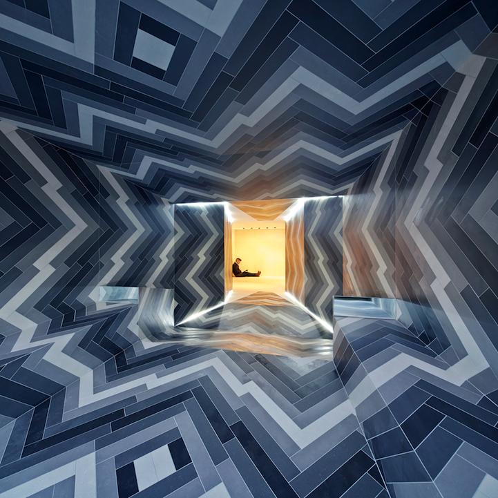 Pulsating Room Created By Porcelain Tiles Design Studio London Installation Design Architecture
