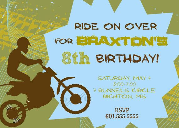Dirt bike birthday party invitation printable diy 5x7 digital dirt bike birthday party invitation printable diy 5x7 digital file filmwisefo