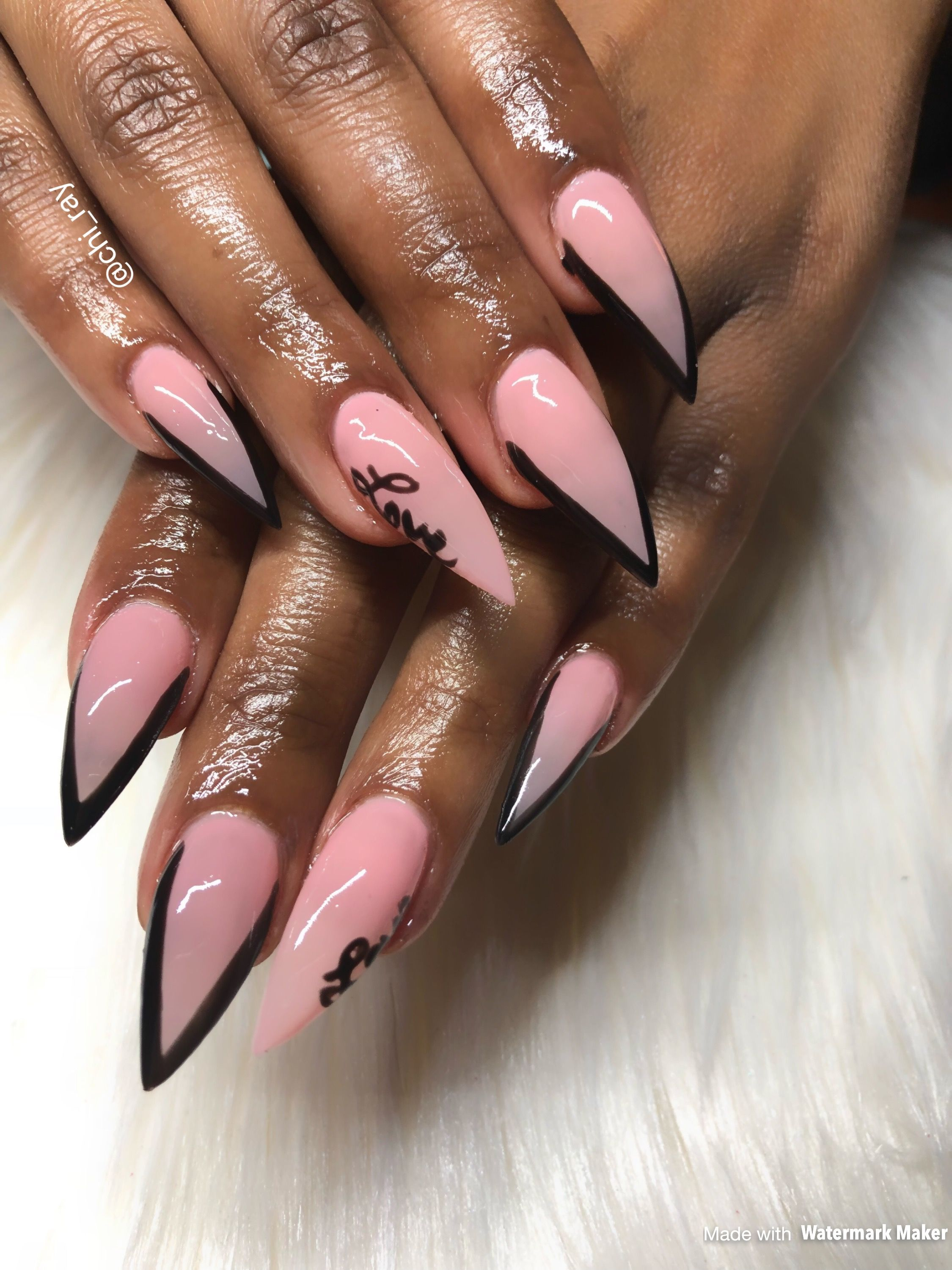 Valentine S Day Nails Nude And Pink Hand Drawn Stiletto Nails