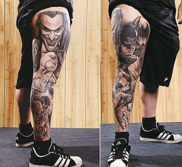 Tons Of Leg Tattoos That Are Amazing Tattoos Beautiful Tatouage Batman Tatouage De Manche De Jambe Tatouage Homme