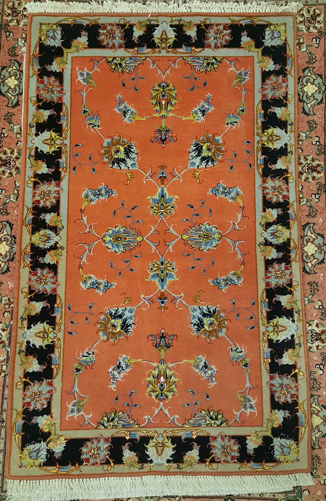 Excellent Orange Allover Oriental Handmade Area Rug Authentic