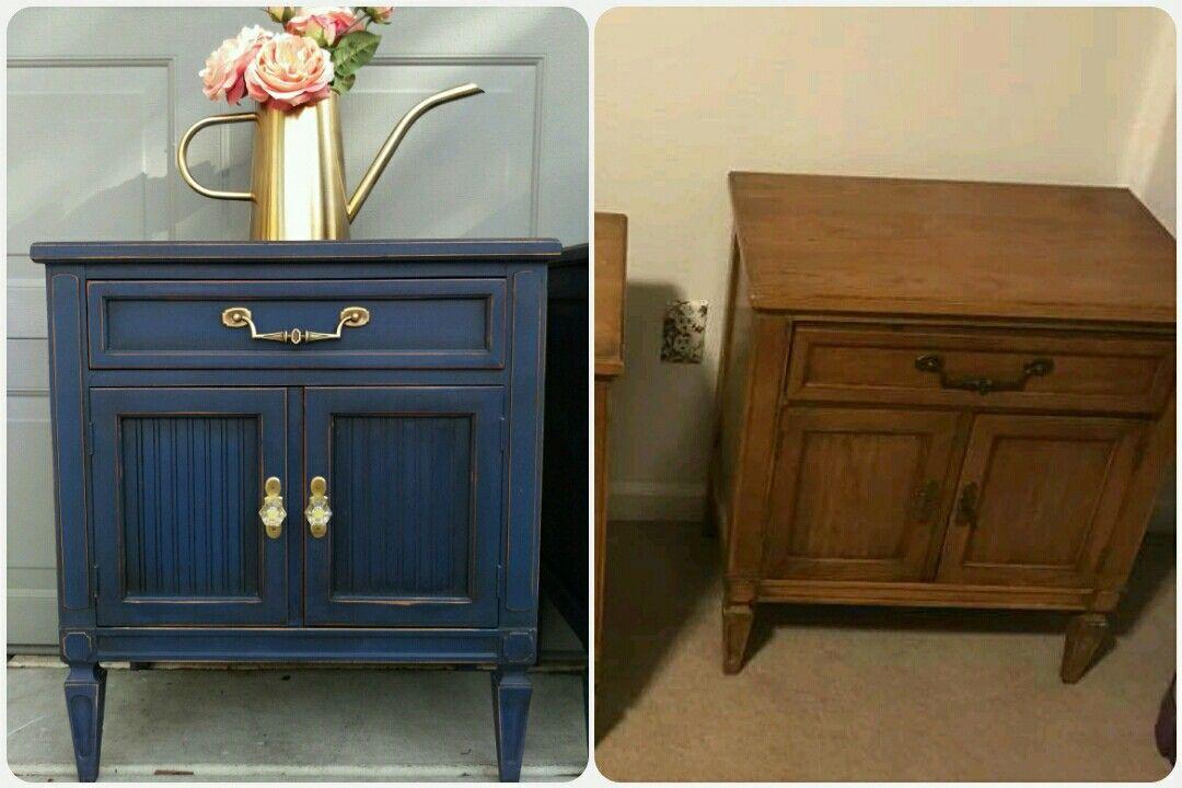 Annie Sloan Napoleonic Blue With Dark Wax Furniture