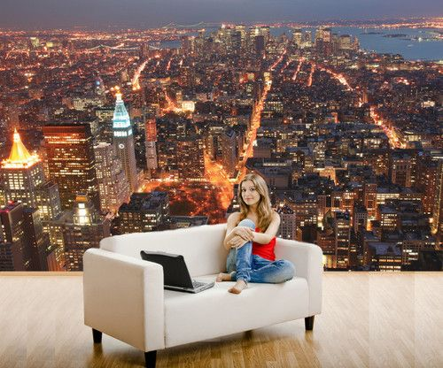 NY City LightsManhattan From Empire State Building Wall Mural - City lights wallpaper for bedroom
