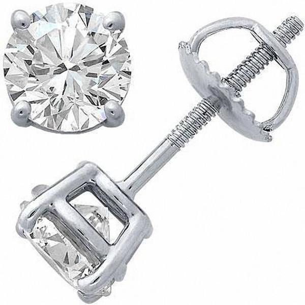 1 2 Ct T W Certified Diamond Solitaire Stud Earrings In 14k White Gold I Vs2 Diamond Studs Black Gold Jewelry Stud Earrings