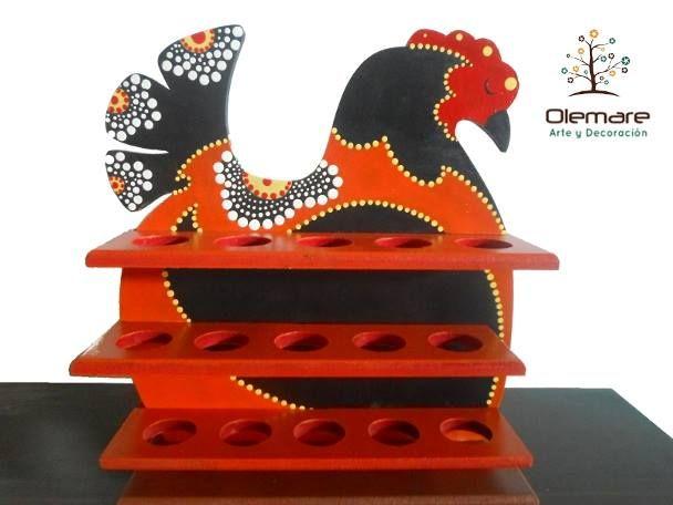 Gallina Decorativa Porta Huevos  Arte con Puntillismo Pintura