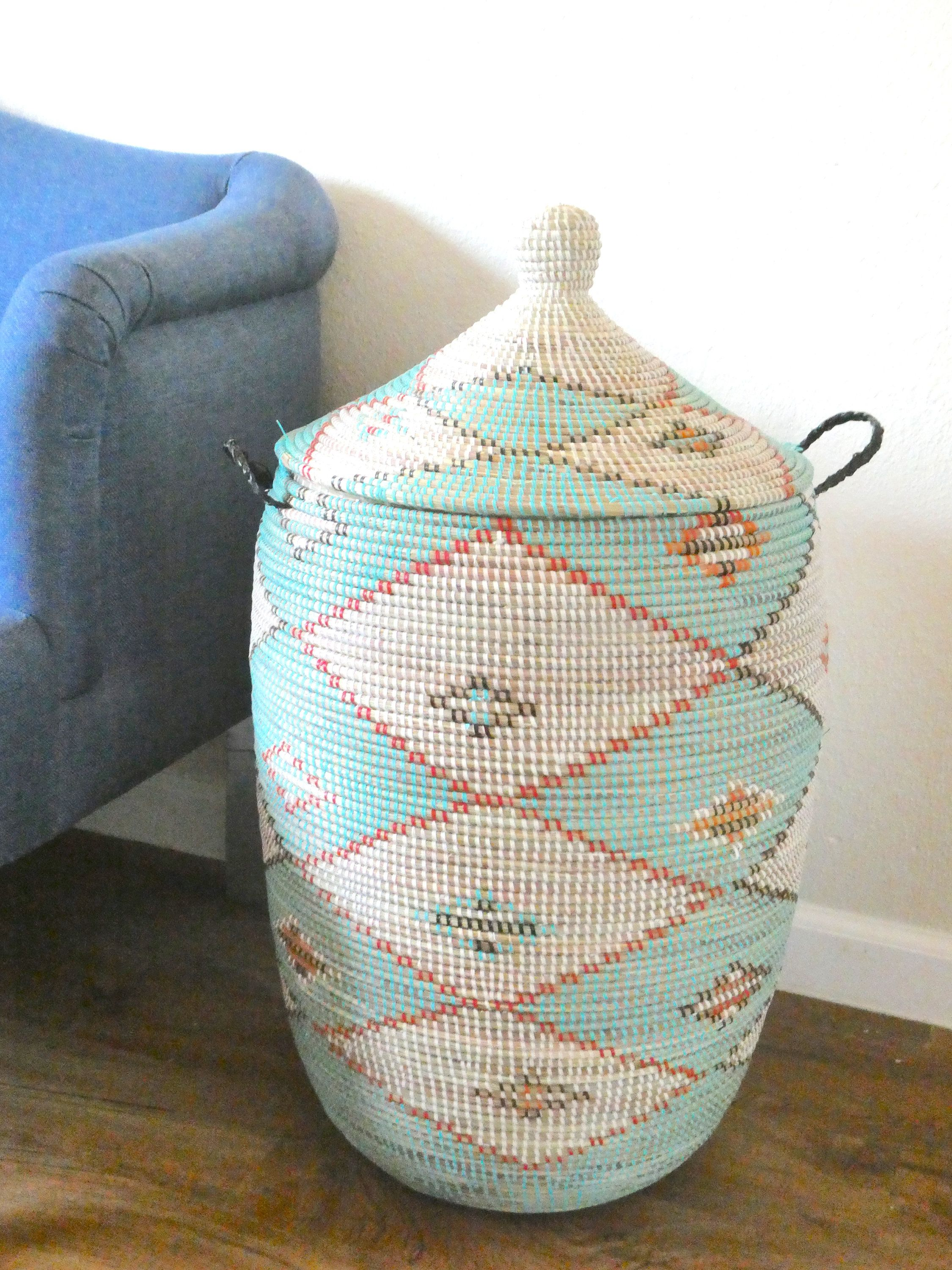 Turquoise And White Eclectic African Laundry Basket Cesto