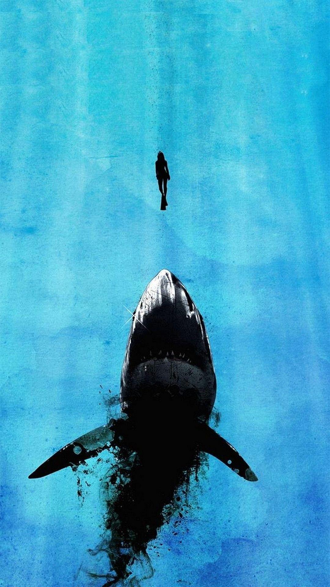 20 iPhone 6 Plus Wallpaper 1080x1920 Shark art, Artsy