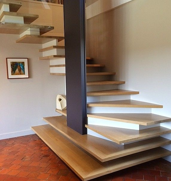 escalier contemporain et design d 39 architecte en plateaux de bois escalier en bois design et. Black Bedroom Furniture Sets. Home Design Ideas