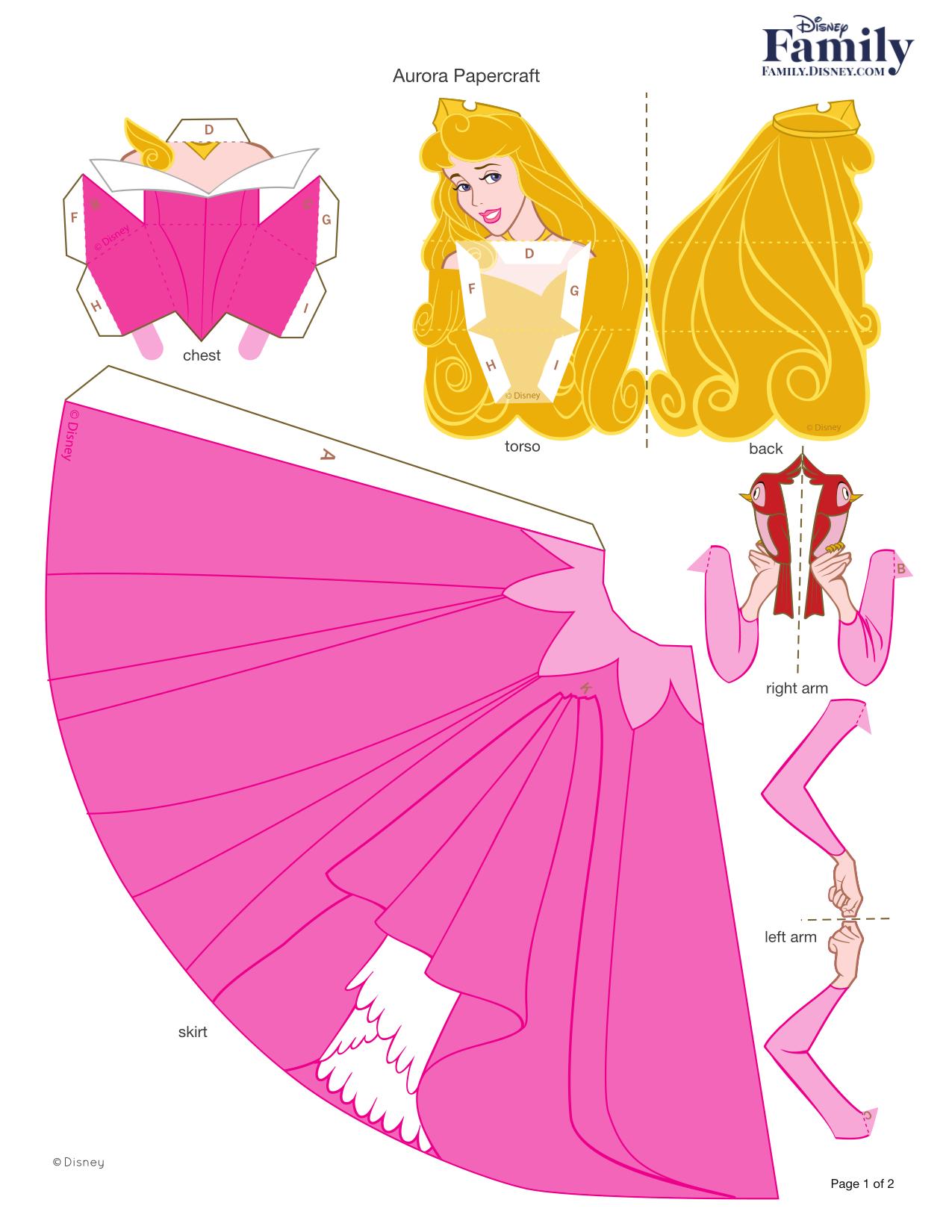 Princess Aurora Prince Party Princesa Disney Fun Crafts Craft Rooms Printable Paper Ana Rosa Papercraft Stenciling