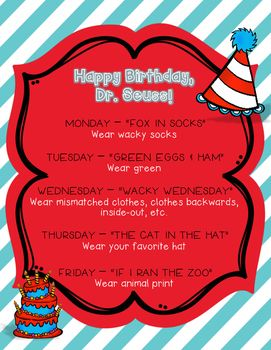 e40a5bed FREE Use this cute flyer to promote reading and Dr. Seuss in your  school/classroom! Each day of the week suggests a book to read and what to  wear.