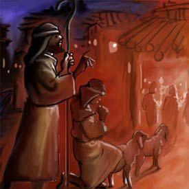16 de herders komen bij de grot waar jezus is geboren. Black Bedroom Furniture Sets. Home Design Ideas