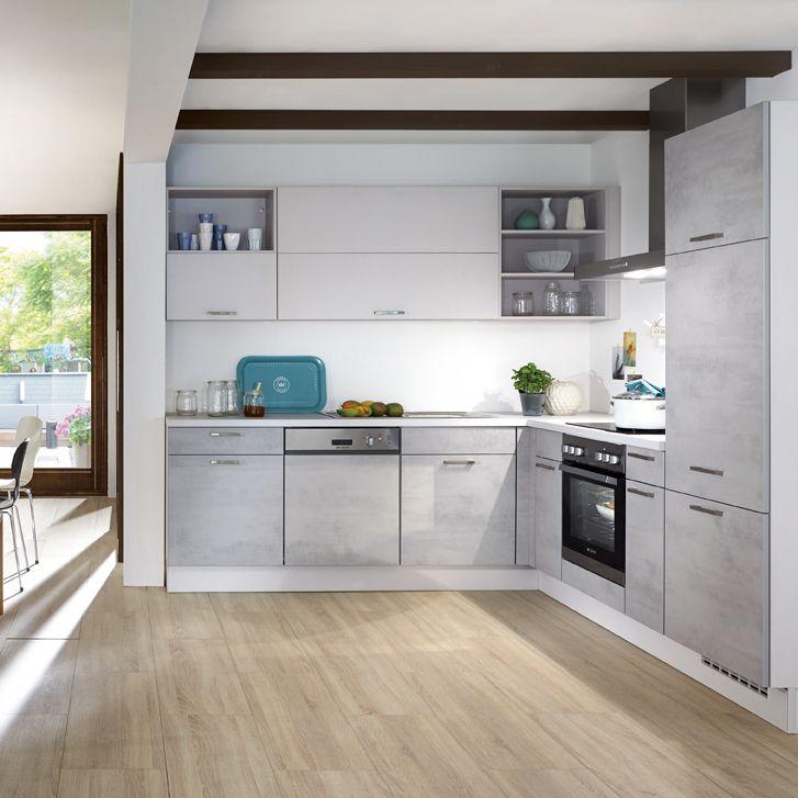 Kleine Eckküche in der Farbe Beton | Beton Küche | Pinterest ...