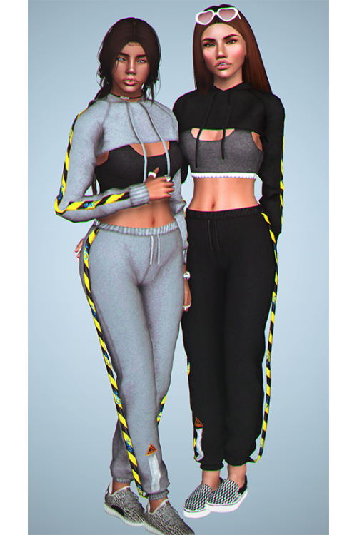 436c4555467 Off White Cropped Hoddie and Sports Bra for The Sims 4 by Dizziesims ...