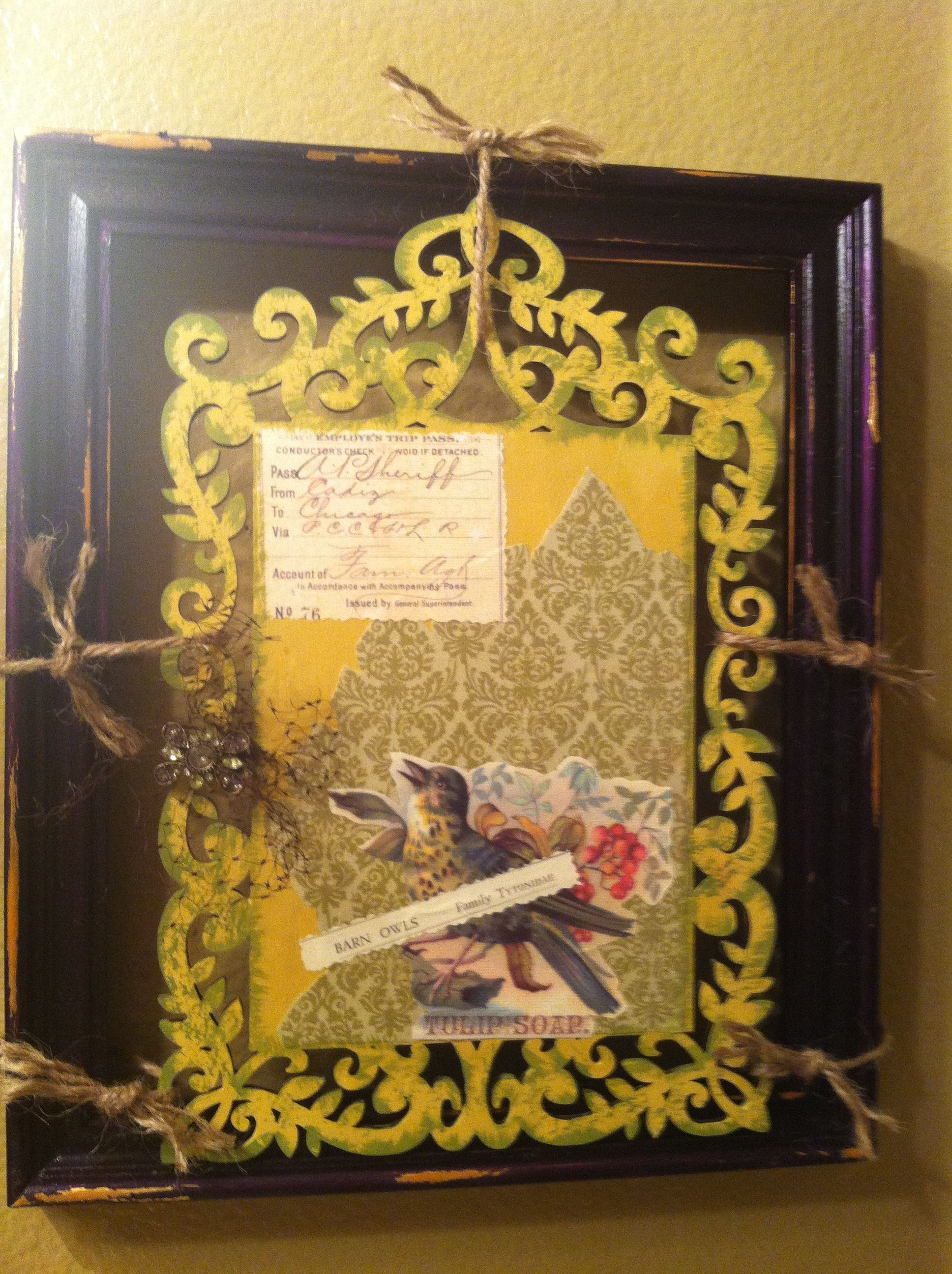 Unfinished wood frame & plain die cut piece from Michaels. Paint ...