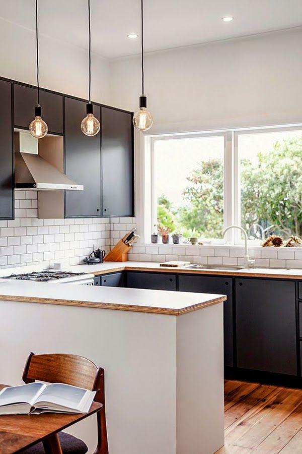 Cocinas negras elegantes cl sicas modernas grandes for Cocinas grandes modernas