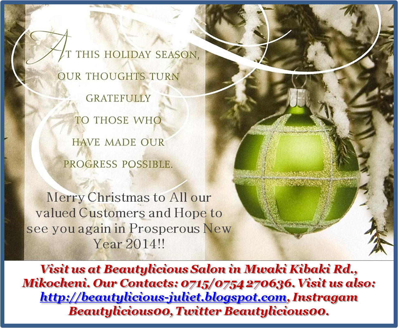 Merry Christmas To You All And A Prosperous New Year 2014 My