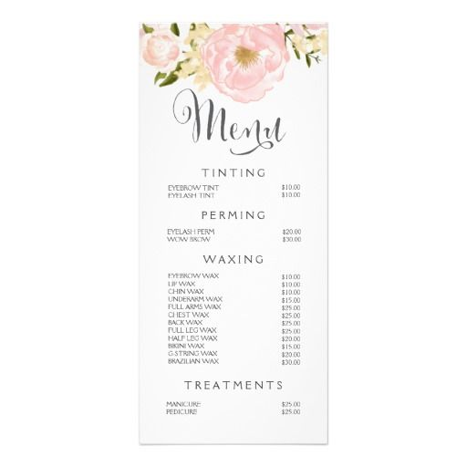 Hair Nail Salon Beautician Menu Floral Price List  Layouts