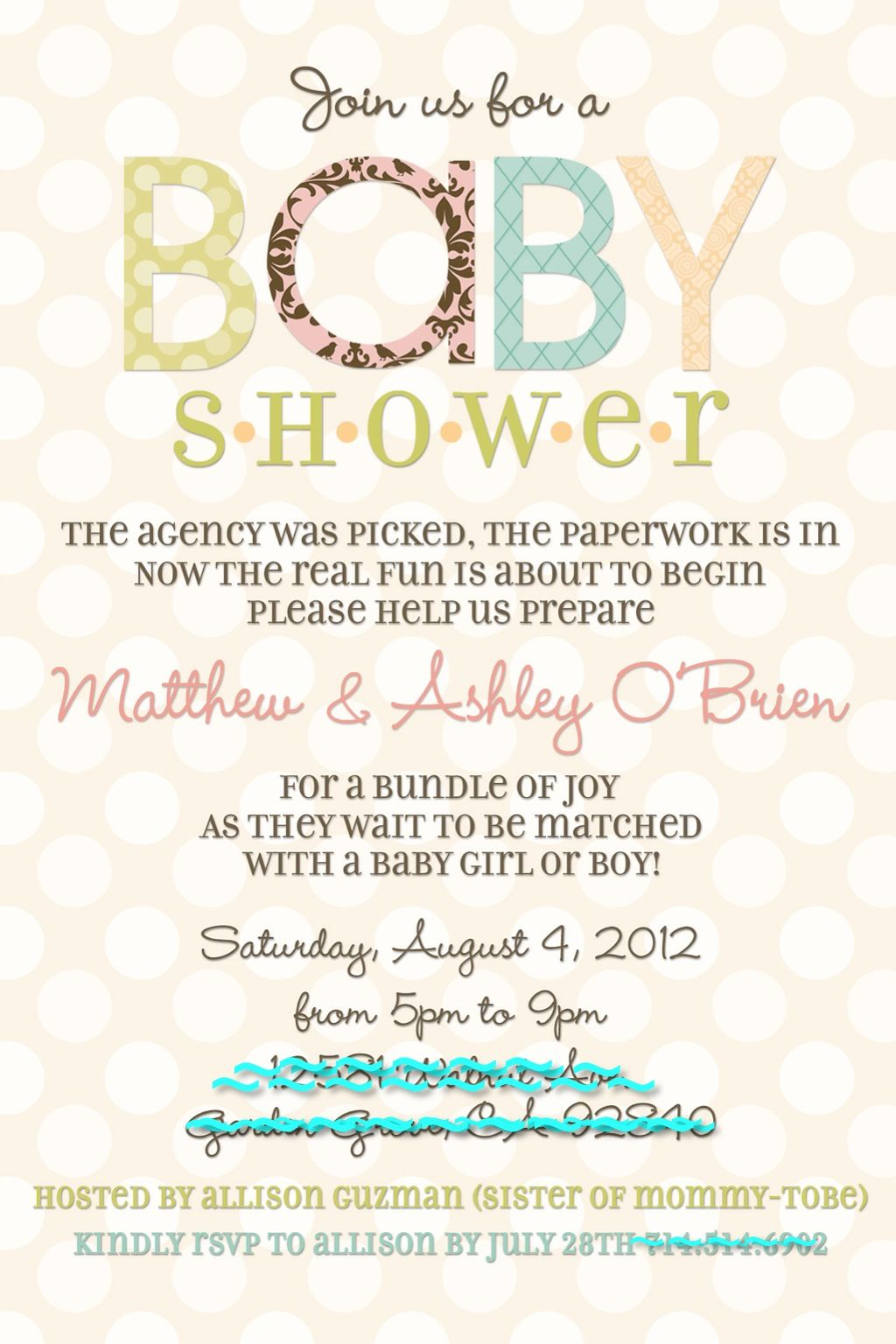 Adoption Baby Shower Invite! @stephanie Miera, Potential Wording (with A  Few Tweaks