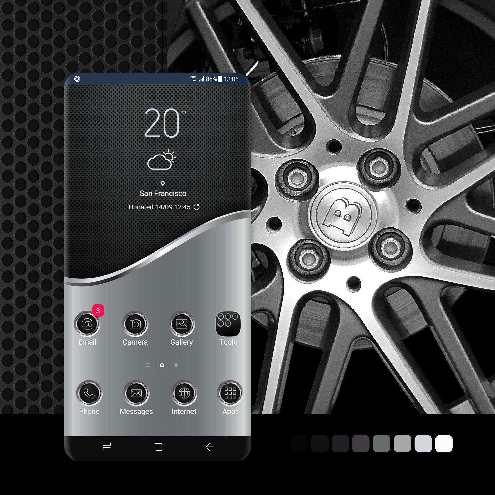 Mettalic Duo Galaxy Theme Galaxy Black Wallpaper Iphone