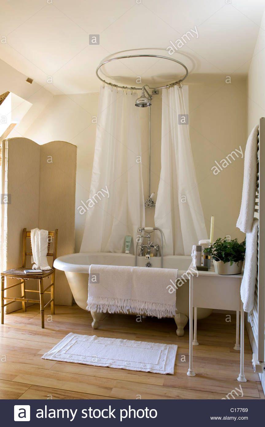 Freestanding Roll Top Bath With Circular Shower Curtain Bathroom