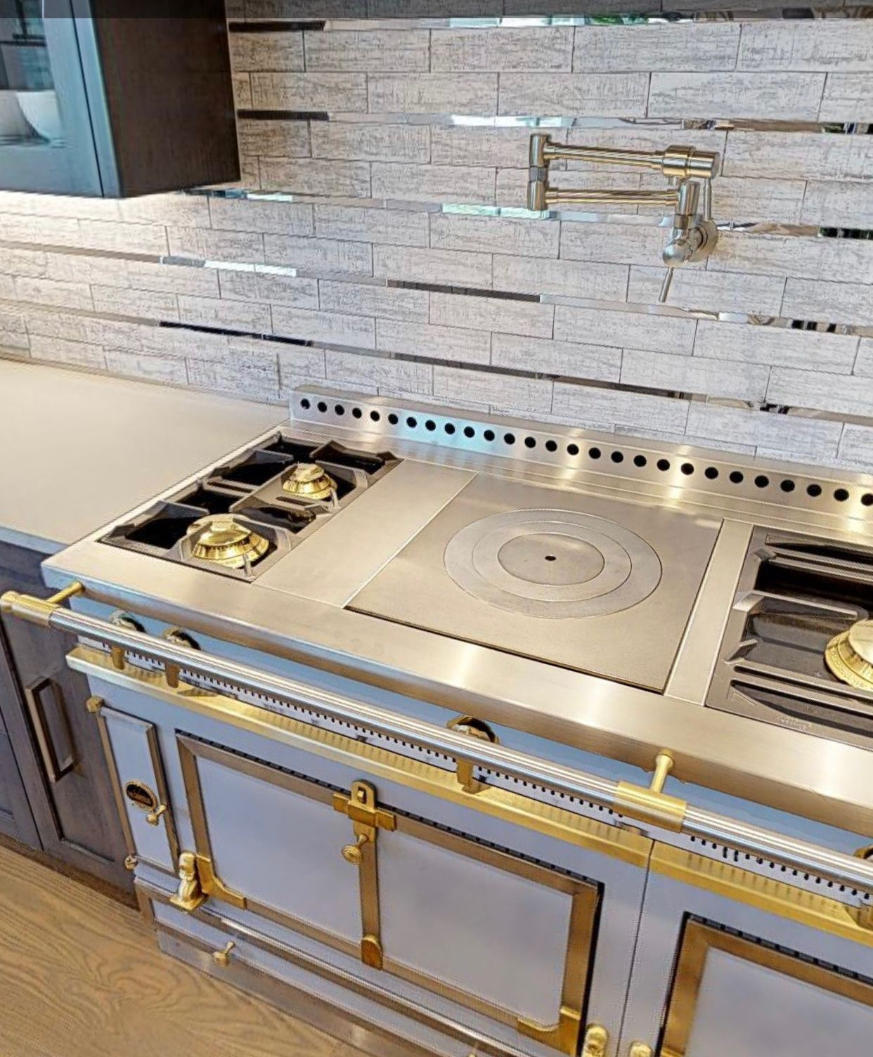 - Gold Stove With Silver Backsplash Home Decor, Home, Decor
