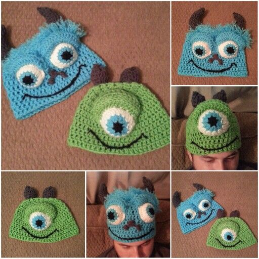 Handmade Monsters Inc Crochet Hats With 3d Eyes Mike Wazowski And