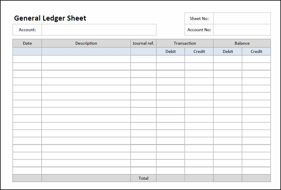Printable General Ledger Sheet Template Accounting Pinterest - Bookkeeping Spreadsheet Template Free