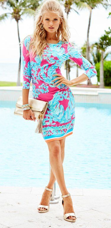 a01bd696c14 Lilly Pulitzer Madison Dress in Capri Pink Beach Bound Engineered Border