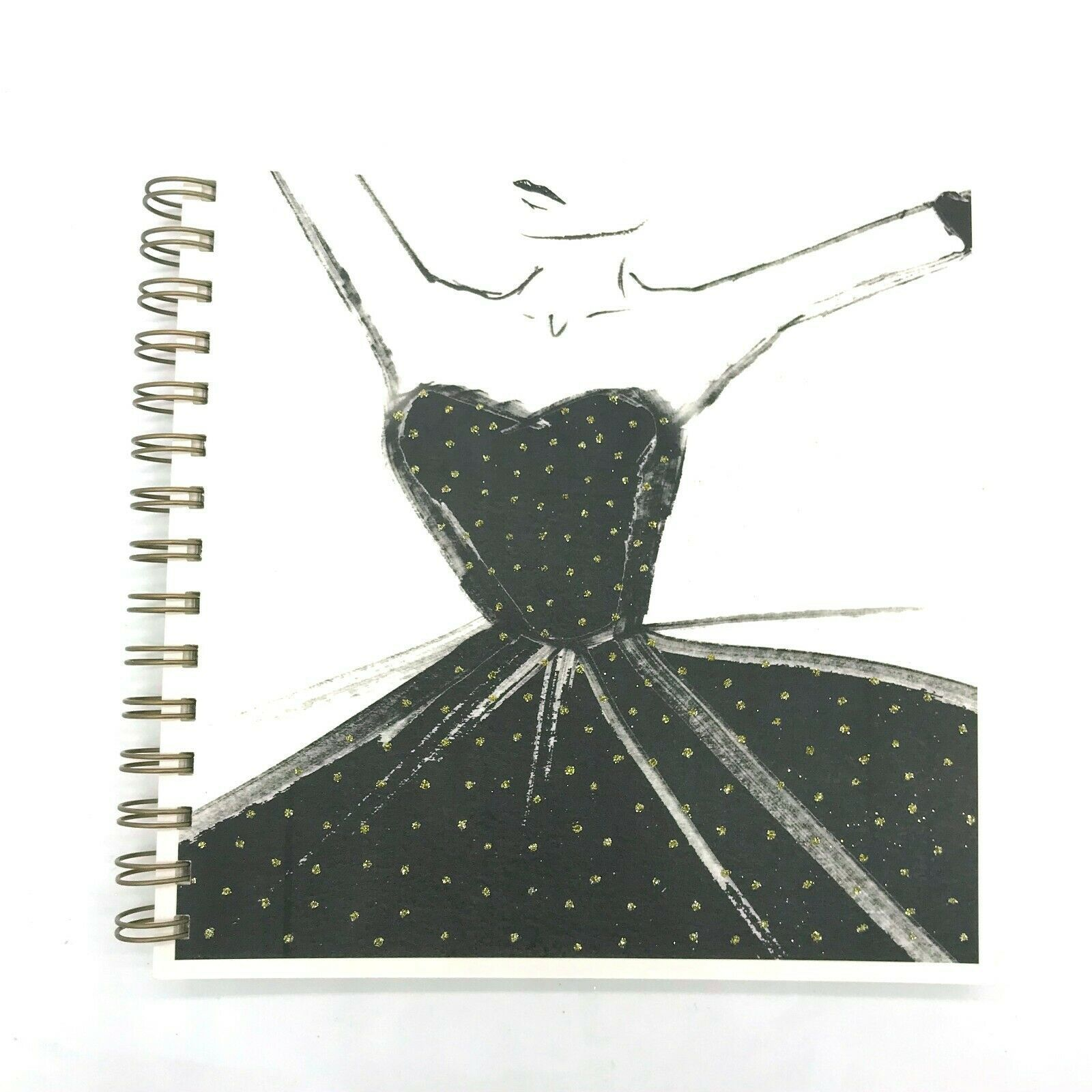 Photo of Square Black Designer Dress Luxury Plain Notebook Sketch Book by English Graphics