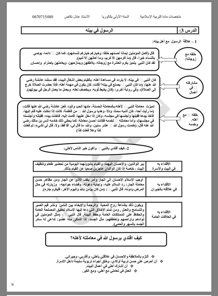 ملخصات الأولى بكالوريا في مادة التربية الإسلامية وفق المنهج الجديد Blog Posts Blog Post