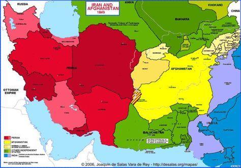 Map Of Iran Afghanistan 1849 Karta Istoriya