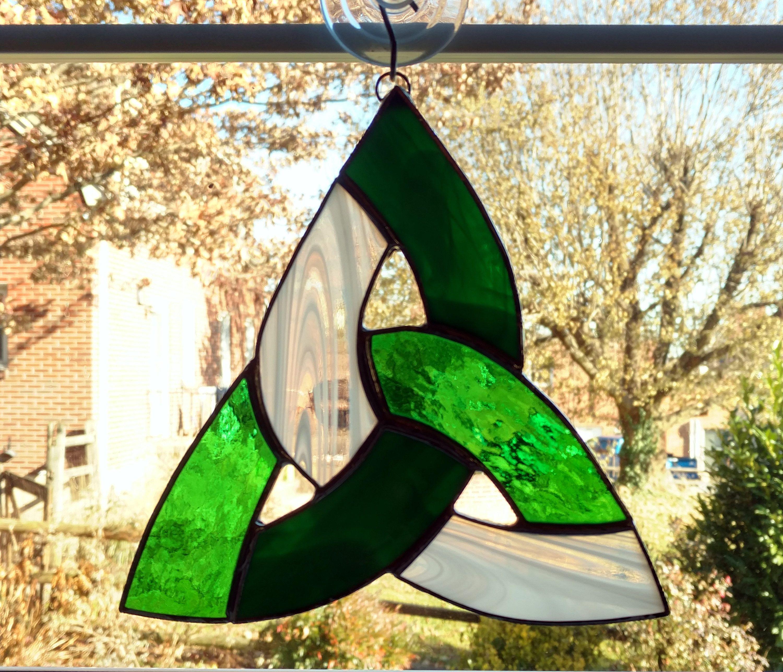 Celtic Knot Stained Glass Suncatcher, Irish Decor, Trinity Knot ...