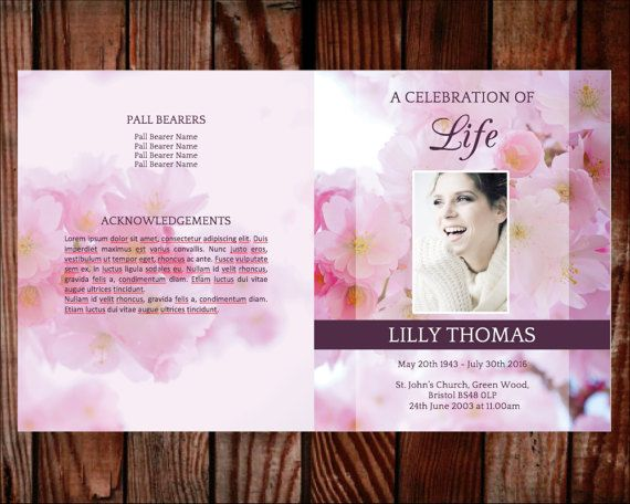 Funeral Program Funeral Programs Funeral Template Printable