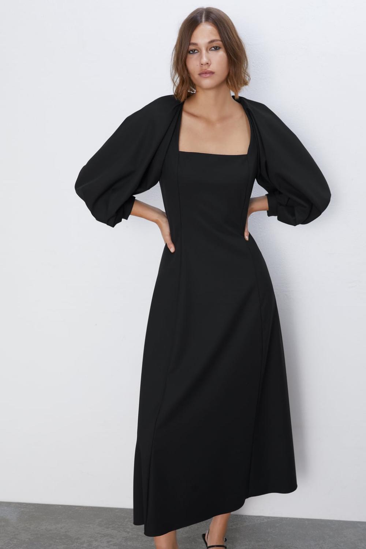 Midi Dress With Voluminous Sleeves View All Dresses Woman Zara United Kingdom Dresses Midi Dress With Sleeves Midi Dress [ 1500 x 1000 Pixel ]