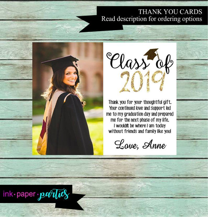 Graduation graduate your photo party thank you note cards