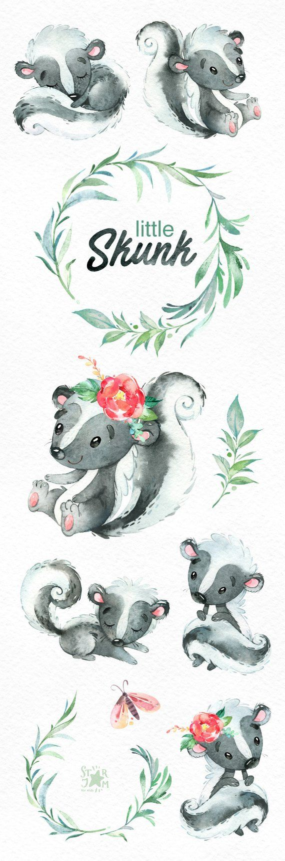 little skunk watercolor animals clip art wild native forest
