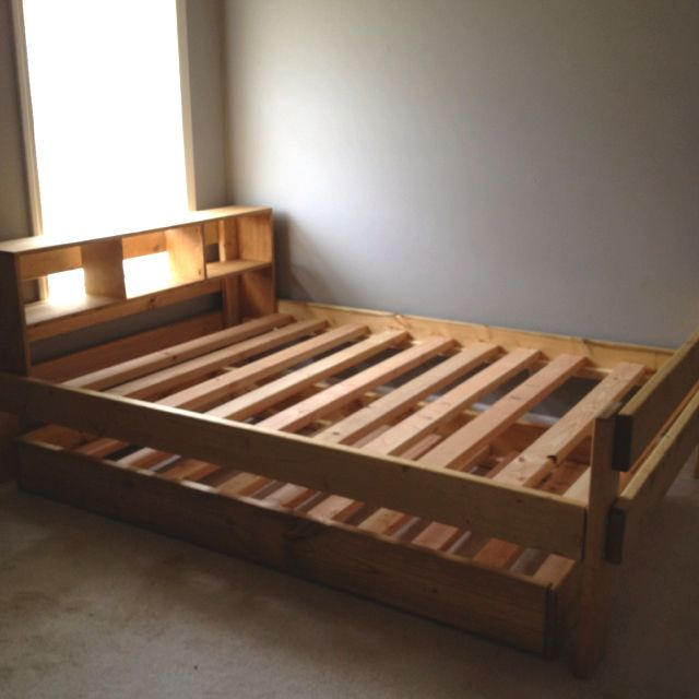 Full Size Bed With Built In Headboard Shelf And Twin Trundle