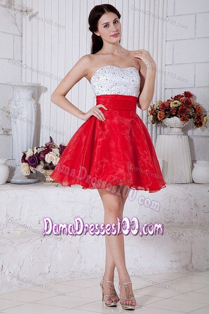 0156ea9b002 White and Red Puffy Short 15 Dresses for Damas with Beading