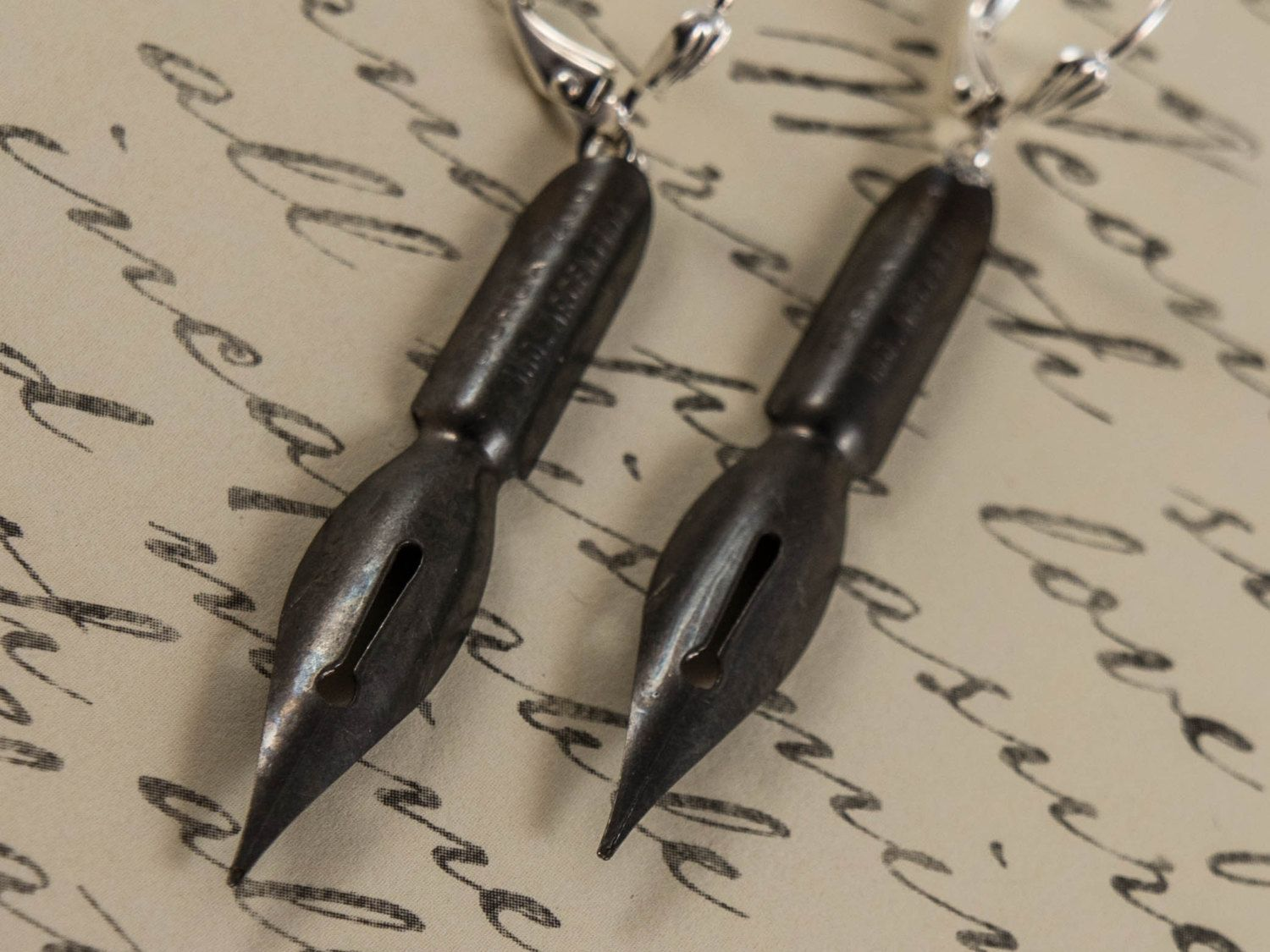 Pen Nib Earrings, Upcycled Steampunk Earrings by PuddinAndPeanuts on Etsy https://www.etsy.com/listing/155566043/pen-nib-earrings-upcycled-steampunk