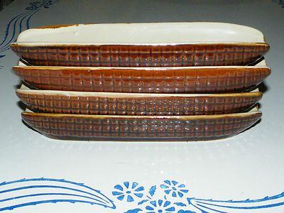Vintage Taiwan Brown Ceramic Corn On The Cob Pottery