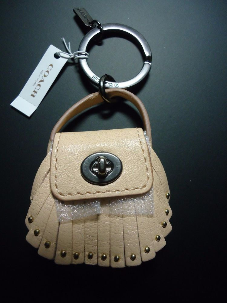 d0686c0415 ... release date new coach dakotah leather bag charm purse fob key chain  ring rare apricot coach