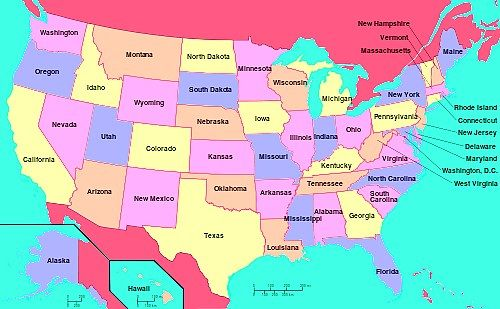 Map Of United States States And Names In Different Colors - United states of anerica map
