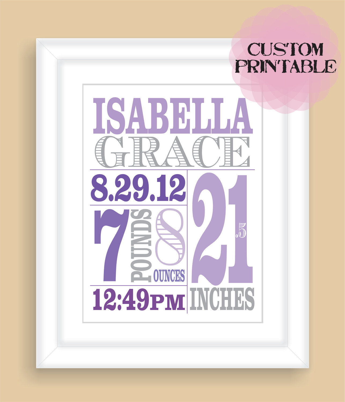 printable diy baby birth stats 8x10 newborn personalized custom girl