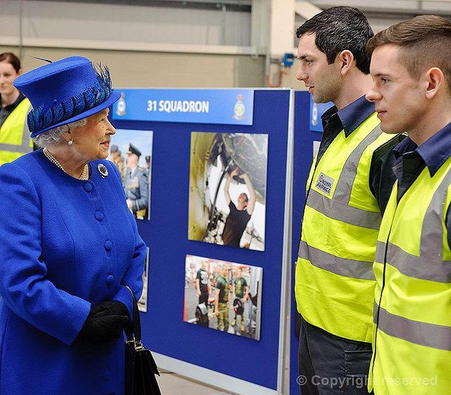 The Queen tours the station at RAF Marham, 3 February 2014.
