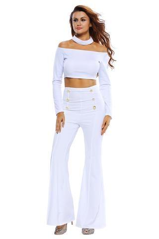 Ensemble Pantalon Et Haut Court Femme Blanc Taille Haute Bouton Manches  Longues
