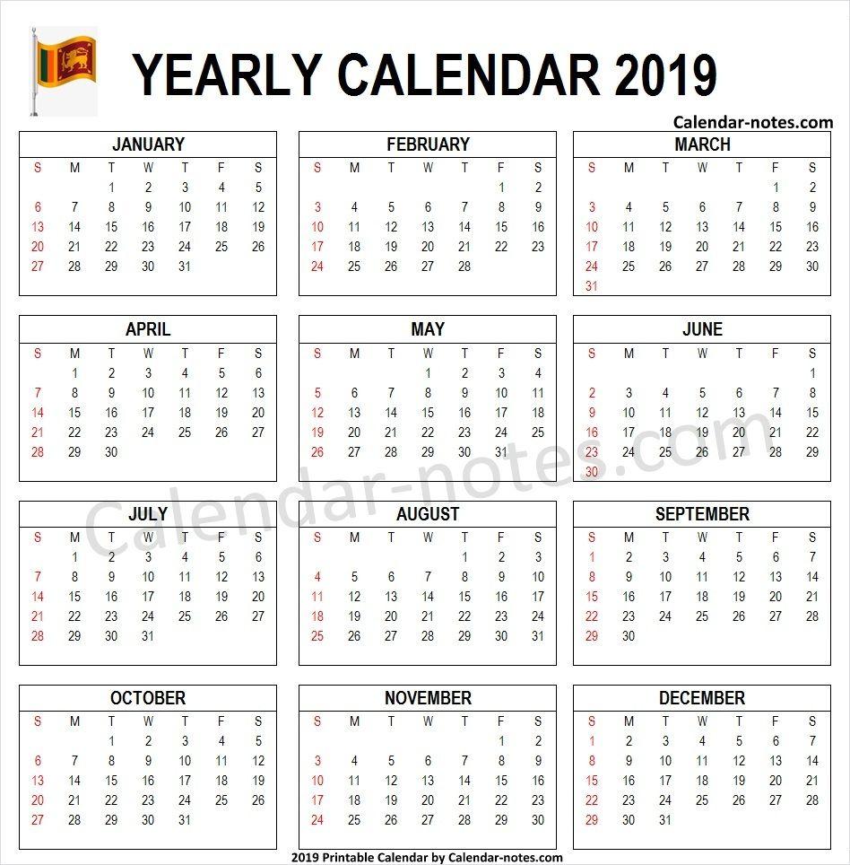 2019 Calendar Sri Lanka Pdf 2019 Calendar Calendar Template