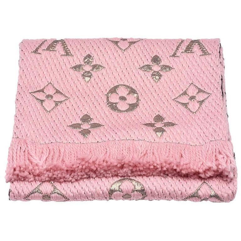 830b22be9a2f1 Louis Vuitton Logomania Shine Wool Scarf Pink Lurex (M70466)