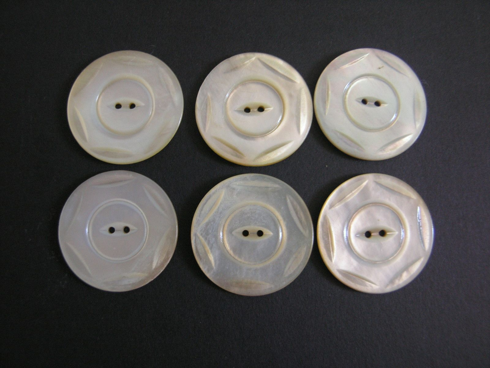 Vintage Set of 6 Pearl Oyster Shell Two Hole Sew Through Buttons from The 1920'S Sold for $7.50 plus s/h