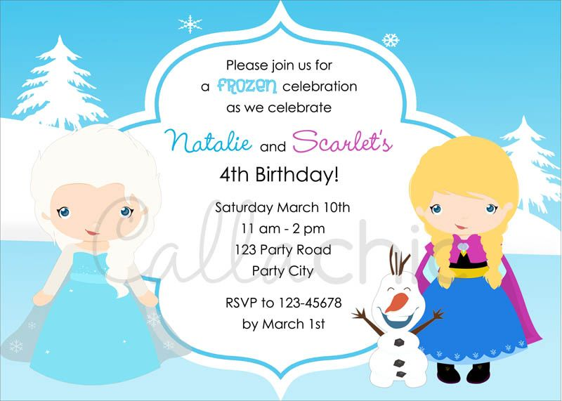Twin joint birthday party invitation for your girls in frozen snow twin joint birthday party invitation for your girls in frozen snow princess theme with elsa anna olaf you will receive a personalized 5 x 7 printable stopboris Image collections