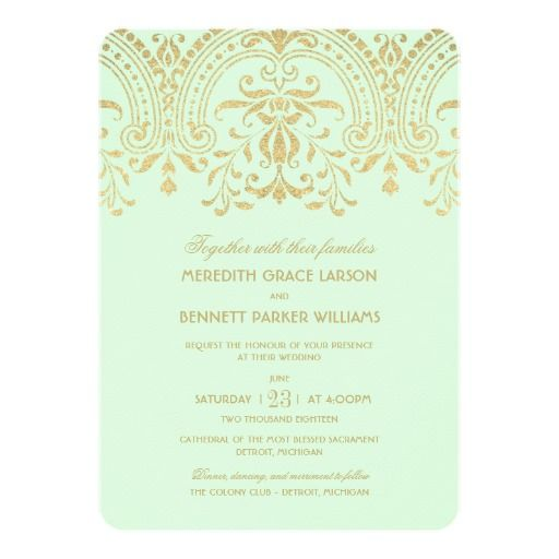 Wedding Invitations Mint Gold Vintage Glamour